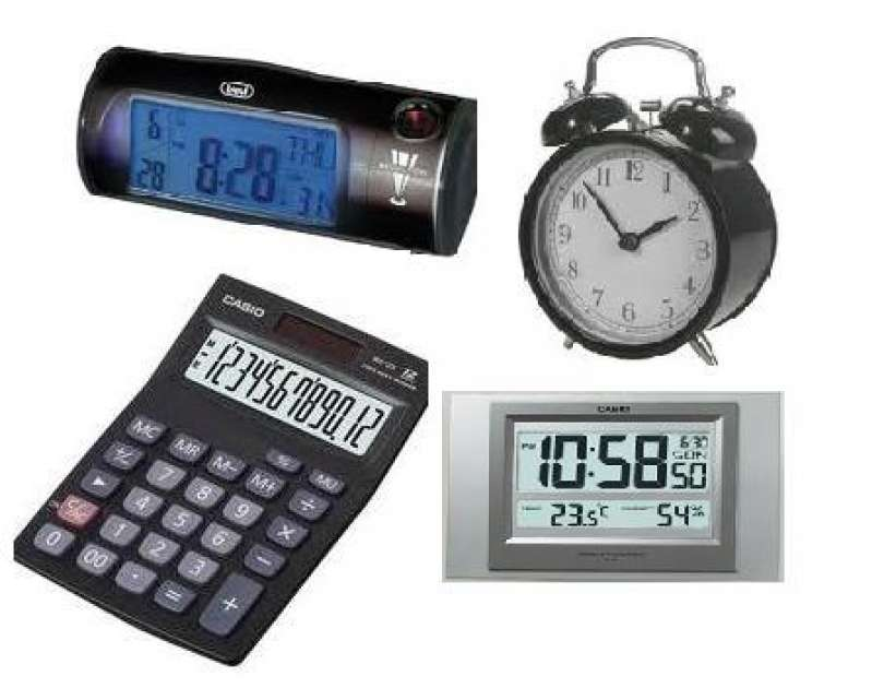 Alarm clocks, Radio-alarm clocks and calculators
